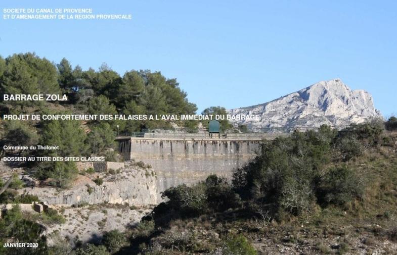 travaux de confortement des falaises du barrage Zola