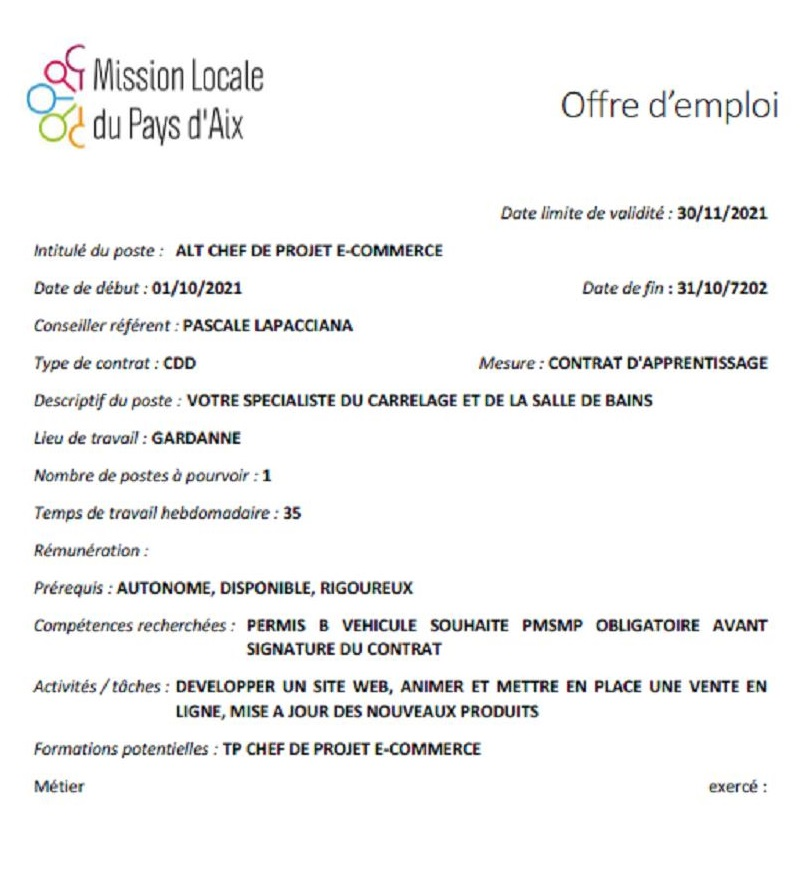 offre mission locale